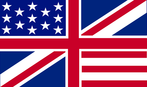 British flag and US flag