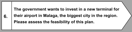 The government wants to invest in a new terminal for their airport in Malaga, the biggest city in the region. Please assess the feasibility of thi plan.