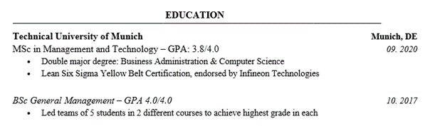 Consulting Resume Education Section Example
