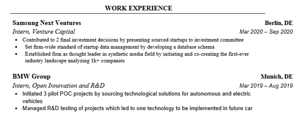 Consulting Resume Professional Experience Section Example