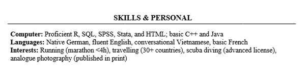 Consulting Resume Skills and Personal Section Example