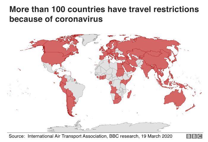 map travel restrictions due to coronavirus