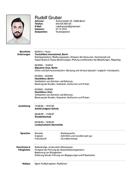 format of german tabular cv question