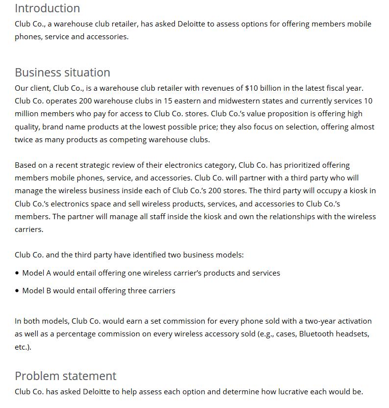 Deloitte Case question - PrepLounge com